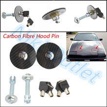 CARBON FIBER STYLE HOOD PIN LOCK WITH KEY for Engine Bonnet hood pin/ CARBON Fiber Flush Mount Hood Lock w/ Key Variable Mount(China (Mainland))