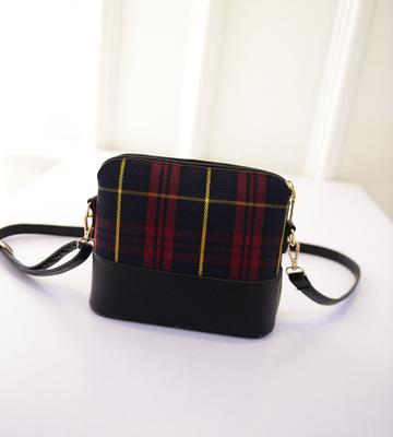 Гаджет  2015  new arrival single zipper women messenger bags elegant women bag design pu leather + plaid shoulder bags None Камера и Сумки