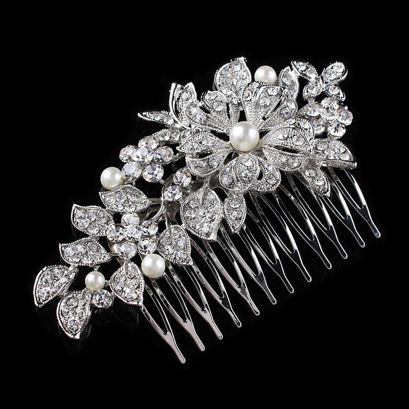Wedding Hair Accessories Pearl and Rhinestone Bridal Floral Hair Combs For Women 10.5*6.4cm(China (Mainland))
