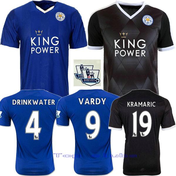 2016 Leicester City azul Negro ausente tercera White KRAMARIC VARDY Leicester City camisetas DE futbol free shipping<br><br>Aliexpress