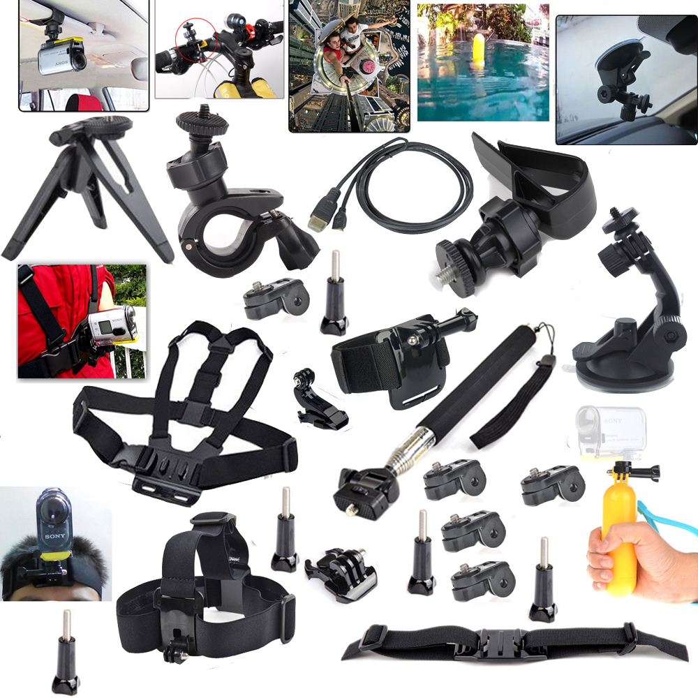 Mount Sports Camera Action Set Accessories Kit for Sony Action Cam HDR-AS15 AS20 AS30V AS100V AS200V X100V/W 4K <br><br>Aliexpress