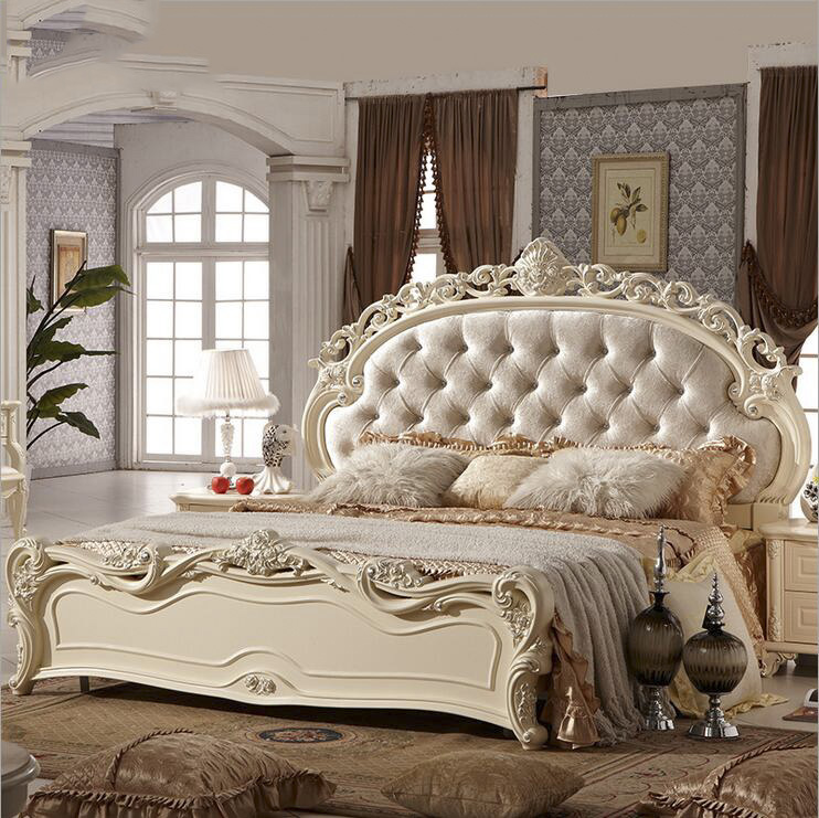 modern european solid wood bed Fashion Carved leather french bedroom furniture pfy10151(China (Mainland))
