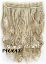Hair Factory Sale Women's Heat Resistant Hairpiece Synthetic Hair Clip in on Hair Extensions Wavy Curly Hair 16/613 Brown Blonde(China (Mainland))