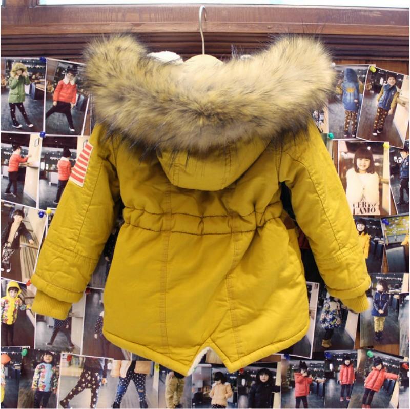 Скидки на Толстые Зимние детские куртки США Флаг Теплые Пальто С Капюшоном Из Искусственного Меха Воротник Дети Верхняя Одежда Хлопка Мягкий Ребенок Девушки Парни Snowsuit