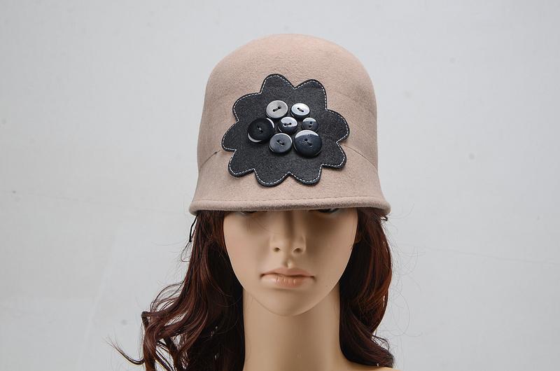 Vogue winter women's cloche hat floral dress hats Kentucky Derby beanie wool caps Party bonnet chapeau black camel hat for women(China (Mainland))