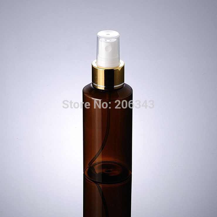 100ml Green/Brown PET BOTTLE or toilet water bottle or mist spray bottle with gold spray pump