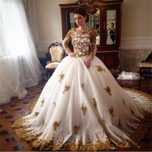 2017 Elegant Gold Lace Wedding Dress Ball Gown Bridal Dress Appliques Beaded Wedding Gown robe de mariage vestido de noiva(China (Mainland))