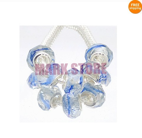 500pcs Sky Blue Big Hole European Faceted Glass Round Rondelle Beads W/ Large Silver Grommet Hole<br>
