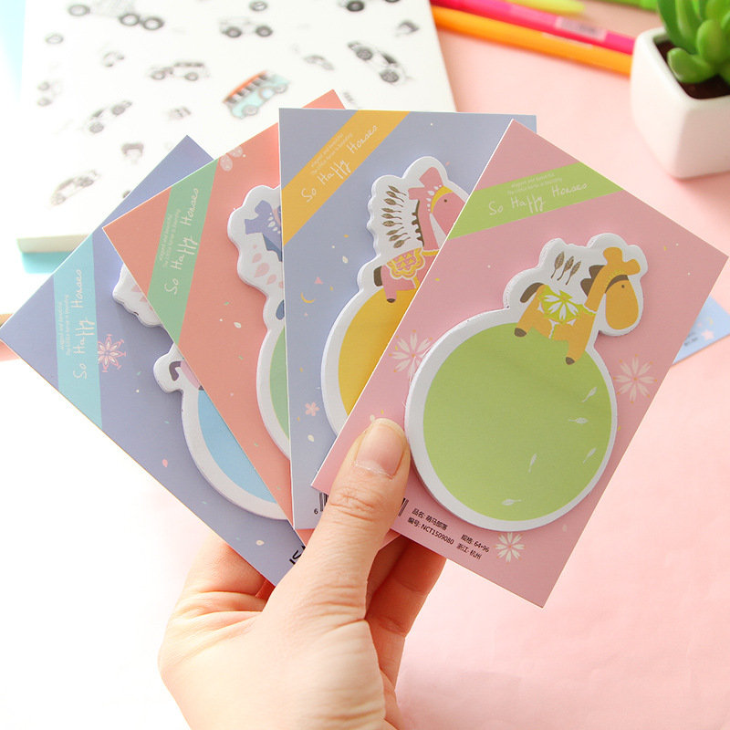1pc Stationary Kawaii Horse Mini Memo Notepad,note Book&memo Pad,sticky Notes