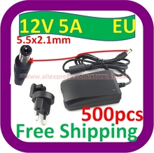 500 pcs Free Shipping  2013 NEW 12V DC 5A  AC Home wall Adapter Power Supply with 2.1mm EU Plug(China (Mainland))