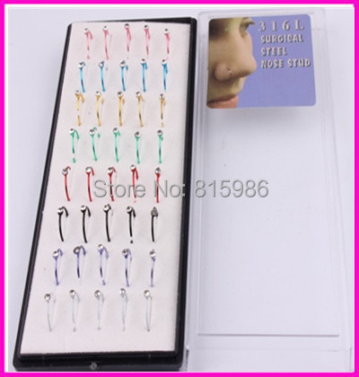 s 54 pcs/lot Mix 8 Color Anodied Steel Body Jewelry Nose Piercing Fashion Hoop Ring Rings - JK Factory store