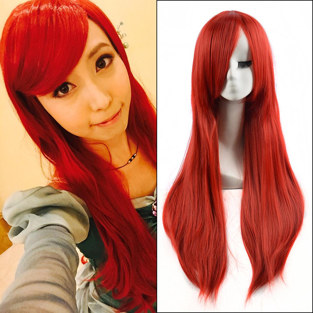 The Little Mermaid Ariel 80cm long red cosplay wig BE3059+a Wig cap<br><br>Aliexpress