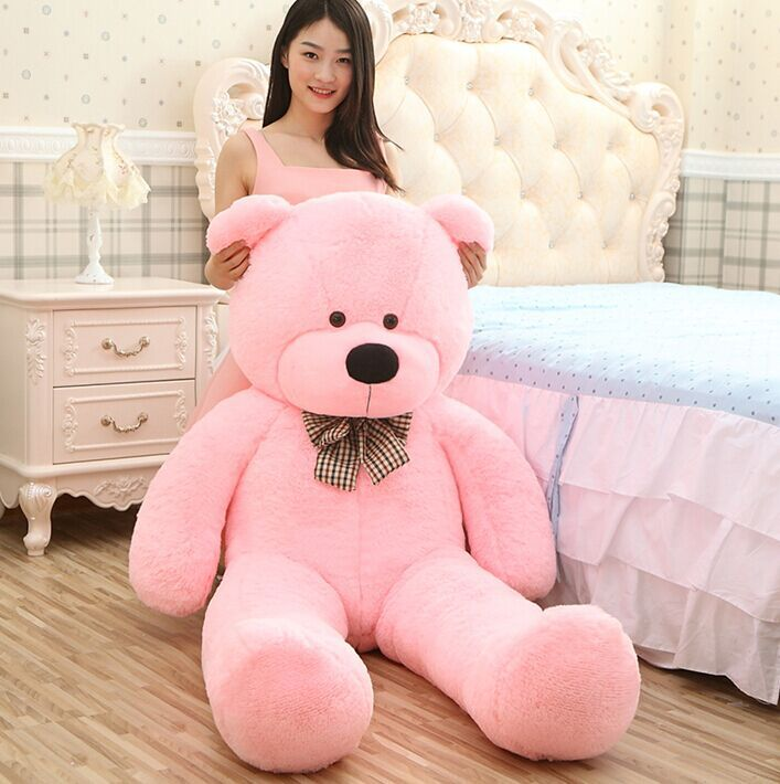 2015 New Giant 220CM/85''inch TEDDY BEAR PLUSH HUGE SOFT Plush Toys Valentine's Day gift 5 colour Valentine gift pink bear(China (Mainland))