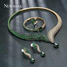 NEWBARK Jewelry Sets Gold/Silver Color Inlaid Half CZ Half Green Rhinestone Collar Shape Necklace Teardrop Pendant Party Banquet(China (Mainland))