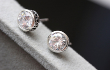 Allergy free retro male  925 sterling silver zircon stud earrings(China (Mainland))