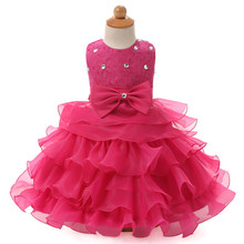 Baby Girls Ball Gown For Wedding Pageant Crystal Dresses Sleeveless Lace Princess Tutu Dress For Baby 1 Year Birthday Clothing(China (Mainland))