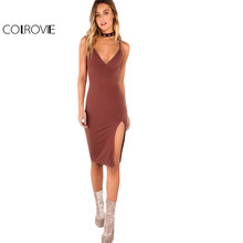 Buy COLROVIE Sexy Bodycon Party Dress Women Brown V Neck Side Split Slim Summer Cami Dresses 2017 Fashion Elegant Club Midi Dress for $10.98 in AliExpress store