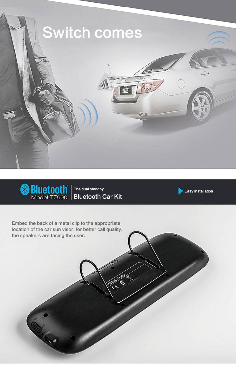SIYAA TZ900 Bluetooth Car Kit Hands-free Sun Visor Bluetooth Phone Voice Reporting Wireless Navigation MP3 Music Player Speakers