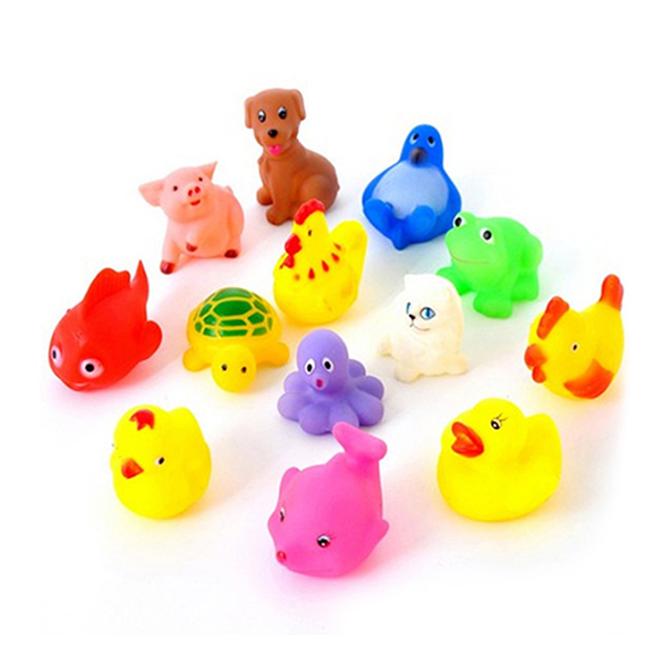 13Pcs/lot Mixed Animals Colorful Soft Rubber Float Squeeze Squeaky Bathing Swimming Play Toy For Baby(China (Mainland))