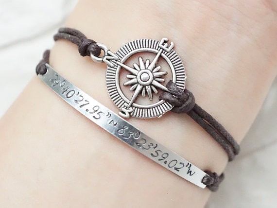 sted latitude longitude bracelet engraved rope bracelet