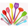 Free shipping Food grade Silicone 10pcs Colorful Cooking Tool Spatula Tongs Whisk Brush Spoon Bakeing Tools