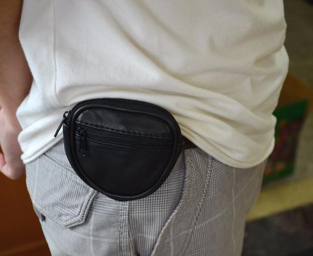 Mini Men's genuine Leather Waist Belt Loops Bag Coin Pocket Case Wallet  (2)