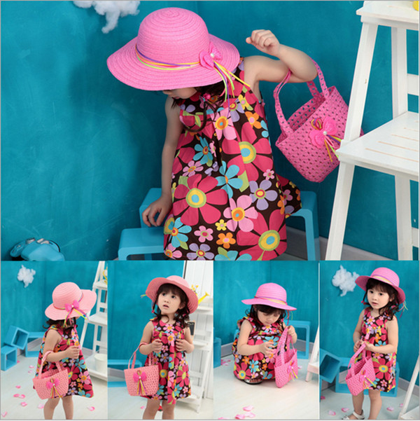 fashion pretty summer girls bowknot straw sun hat+hand bag Hand-knitted coloured ribbon sunbonnet BS080