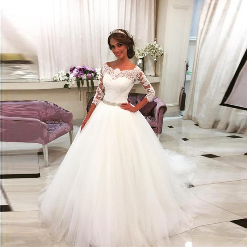 2017 Saudi Arabia Vestido De Noiva 2016 Lace Three Quarter Muslim Wedding Dresses Bridal gown Tulle Ball Gown Wedding Dress wjt