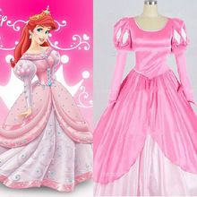 New Adult Princess Mermaid princess Ariel Pink Dress Cosplay Made Costume Dress