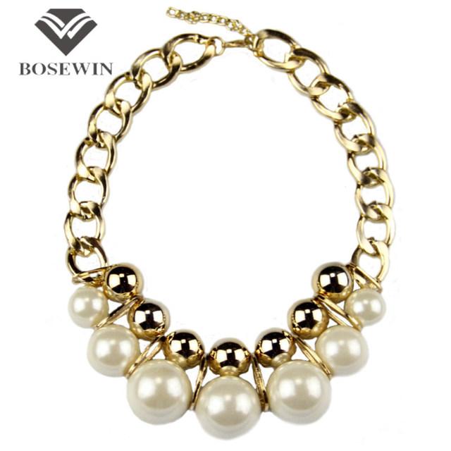 Moda exagerada gargantillas grandes joyas de oro Balls Cross perlas de imitación Chunky collar llamativo cadena