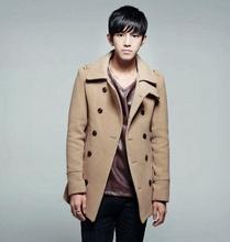 2014 Men Male Warm Multi-color Double Bleasted Pure Color Lapel Woollen Dust Coat Outwear#65562(China (Mainland))