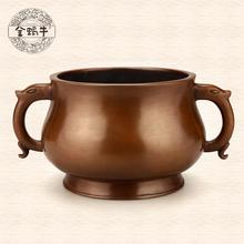 The golden snail # 14 ears GUI jie furnace copper manual pure copper temple gifts tableware collection(China (Mainland))