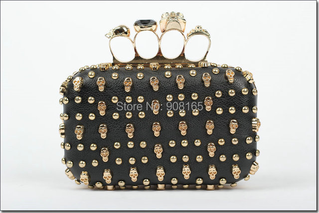 free shipping new arrival punk handbags leather women skulls rivet handbag new products for 2013 clutch evening bag