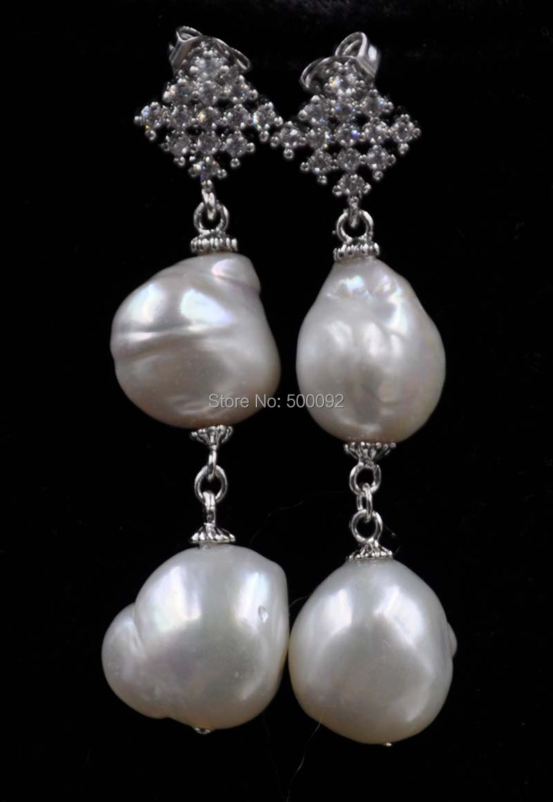 NEW! Natural 12mm freshwater Baroque pearl dangle earring