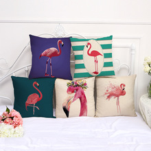 Buy 45*45cm Cushion Animal Cotton Linen Cover Cushion Retro Flamingo Home Decorative Car Sofa Throw Pillow Cover for $3.04 in AliExpress store