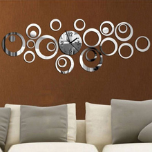 2015 New Quartz Wall Clock Modern Design Reloj De Pared Large Decorative Clocks 3d Diy Acrylic Mirror Living Room Free Shipping(China (Mainland))