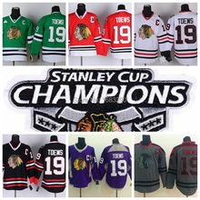 2015 de parches copa Stanley campeonato Authentic Chicago Blackhawks #19 Jonathan Toews Jersey rojo blanco negro Hockey Jerseys verdes(China (Mainland))