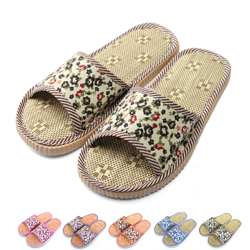 Гаджет  New 2015 Factory Direct Price Lovers Sandals Summer Small Broken Flower Flax Straw Mat Slippers Occupy Home Woman&Man Shoes None Обувь