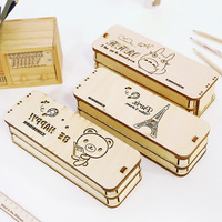 Creative DIY Wooden Pencil Case Cute Pen Box Double Layer Multifunction Pencil Box