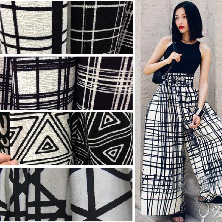 Customized 150cmwidth black white fold stripe lattice font b Tartan b font Plaid chiffon Cotton Cloth