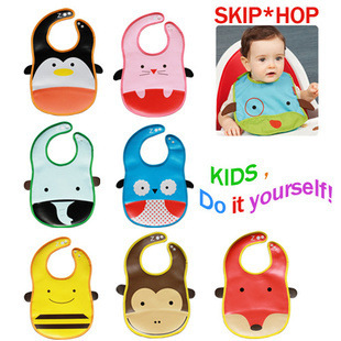 The new 10 ribbon pocket bib pocket to eat animal shaped disposable bibs Baby Essentials(China (Mainland))