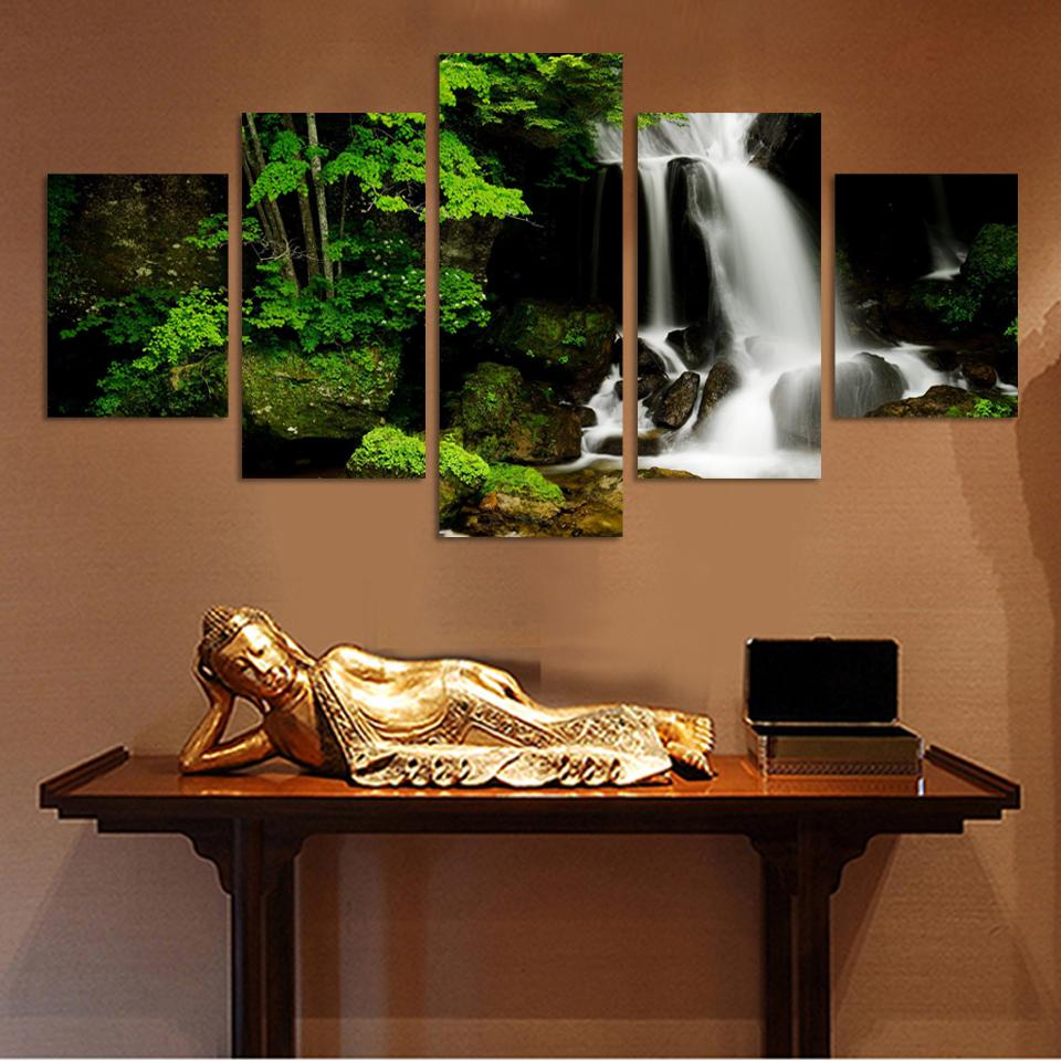 Fashion Waterfall Green tree, Large HD Top-rated Canvas Print Painting for Living Room, Wall Art Picture Gift F232 Wholesale(China (Mainland))