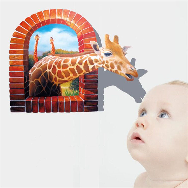 New fashion 3 d giraffe frosted individuality creative wall stickers for kids room adornment wall art mobile PVC wall stickers(China (Mainland))
