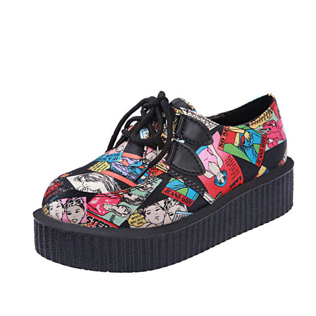 2014 NEW ARRIVED British style WOMEN'S platform flats cartoon printing casual single shoes women creepers DX008 - Evergreen Team store