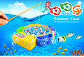 Fun Colorful Fish 4 Fishing Rods Cute Electric Rotating Bilayer Musical Magnetic Fishing Toys For Children