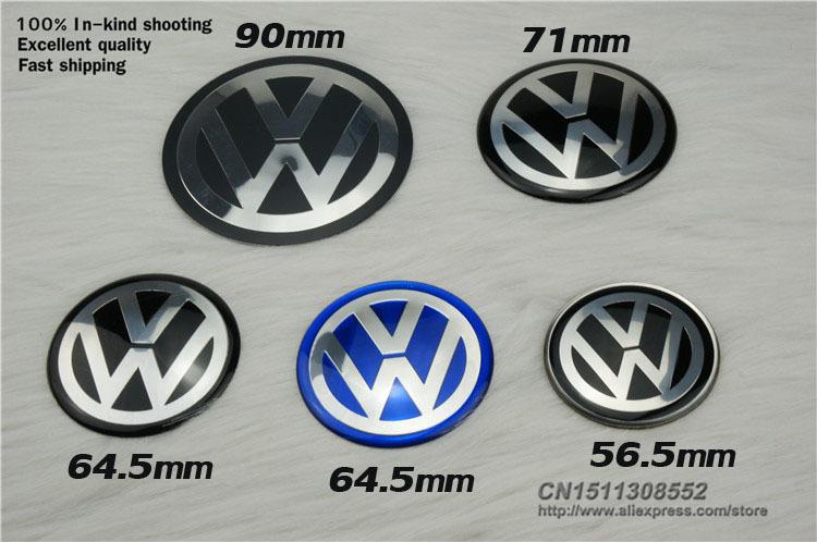 [free shipping] 4pcs 56.5 64.5 71 90 mm vw wheel center cap sticker vw wheel hub cap badge sticker/exterior accessories/emblem(China (Mainland))
