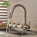 Brushed Nickel Pull Out Faucet Spout Swivel Kitchen Sink Mixer Tap Single Handle Deck Mount