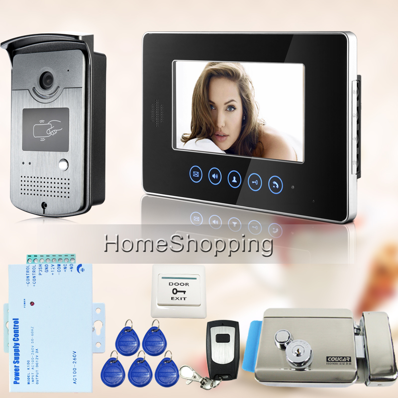 FREE SHIPPING Touch key Monitor 7 inch LCD Video Intercom Door Phone Doorbell System RFID Door Camera + E-lock Remote IN STOCK(China (Mainland))