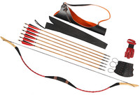 Bow Set Traditional Archery Red Snakeskin Recurve Bow 6 Arrow Quiver 65-95lb CB7H1HS