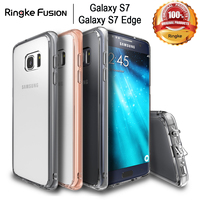 100% Original Ringke Fusion Case For Samsung Galaxy S7 Edge / For Galaxy S7 Clear Plastic Back TPU Frame Drop Protection Cases
